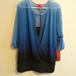 NWT Jennifer Lopez sheer with under top blue ombre